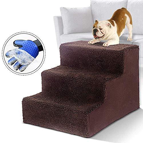 MASTERTOP 3 Stufen Haustiertreppen für Hunde und Katzen,Leichte Haustierleitern für 50 Pfund, tragbare, abnehmbare, waschbare Teppichlauffläche mit Haustierhandschuhe