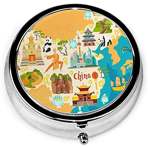 Round Pill Case with 3 Compartment; Travel Pills Box China Abstract Map Travel of Landmarks Temple Dragon Shaolin