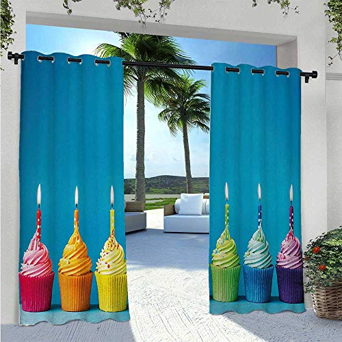 Adorise Outdoor Patio Curtain Cupcakes in Rainbow Colors with Candles Fun Homemade Party Food Sweet Delicious Indoor/Outdoor Cabana Curtain to Shield The Patio from The Sun Multicolor W72 x L96 Inch
