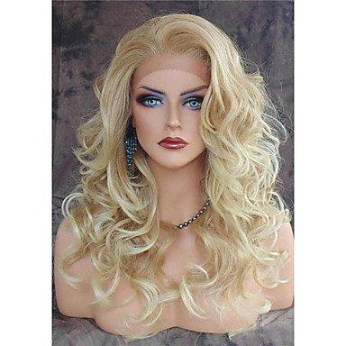 Wangaima Perücke, Vintage-Stil, blond, lockere Wellen, hitzebeständig, mit Spitze vorne, Kunsthaar
