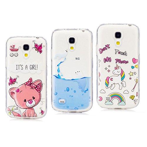 3 pezzi /Custodia morbida silicone per Samsung Galaxy S4 Mini Custodia trasparente Cover flessibile Custodia ultra sottile resistente al paraurti antiscivolo, Gatto rosa, leoni marini, unicorno