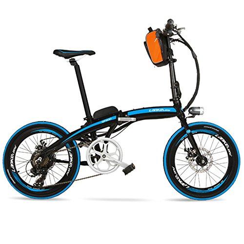 LANKELEISI QF600 Elite 240W 48V 12Ah Portatile 20 Pollici Pieghevole E Bike, Telaio in Lega di Alluminio Bicicletta elettrica, Entrambi i Freni a Disco (Black Blue Standard)