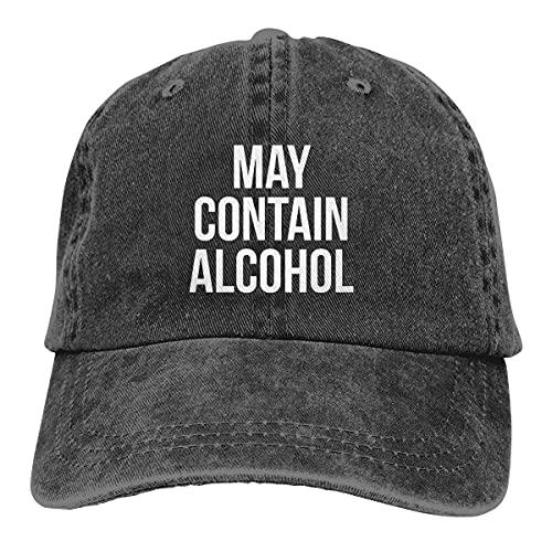 Dyfcnaiehrgrf May Contain Alcohol Unisex Soft Casquette Cap Moda Sombrero Vintage Ajustable Gorra De Béisbol Negro