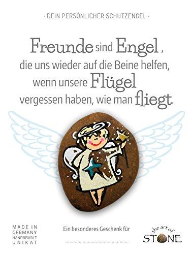 The Art of Stone Dein persönlicher Schutzengel * mit Engeltext auf Geschenkkarte * Freunde sind Engel. Handbemalter Naturstein * Unikat *