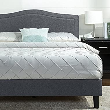 Zinus Avignon Upholstered Detail Stitched Scalloped Platform Bed, Queen