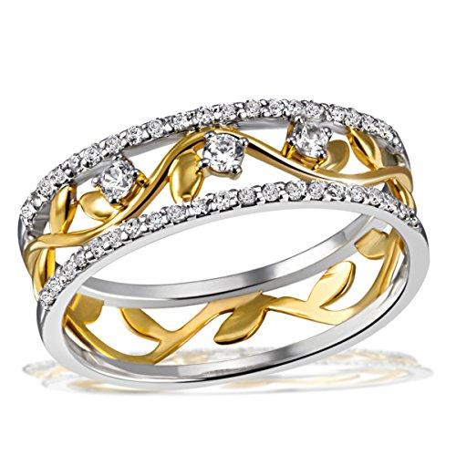 Goldmaid Damen-Ring Bay Leaves gelb vergoldet 925 Silber teilvergoldet Zirkonia weiß Rundschliff Gr. 52 (16.6) - Fo R7641S52 Schmuck