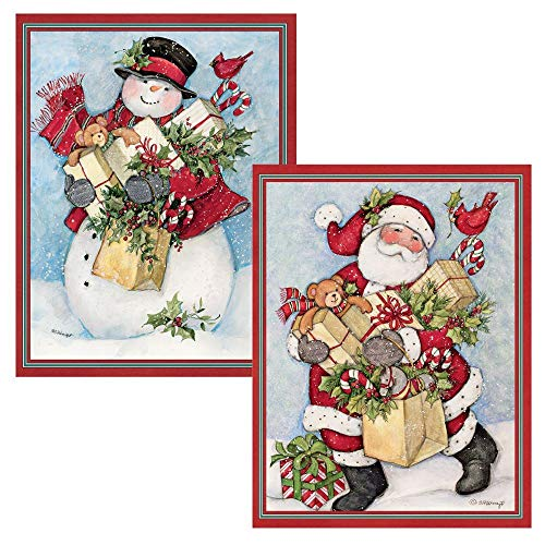 Lang 5.375 x 6.875 Inches Perfect Candy Cane Snowman and Santa Assorted Two Set Christmas Card, 18 Cards with 19 Envelopes (1008103)