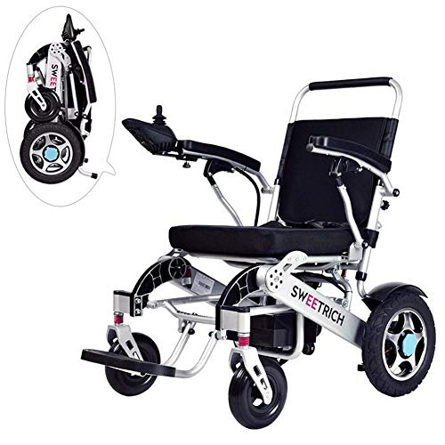 HDGZ Lightweight Foldable Electric Wheelchair, with 20Ah Li-ion Battery, Power Motorized Scooter Chair for Disabled and Elderly Mobility