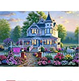 khgtsz Pintura Diamante Bosque Villa Pintura Arte Bordado Punto De Cruz Mosaico Tatuajes De Pared Decoración para El Hogar 5D DIY 40x50cm Sin Marco