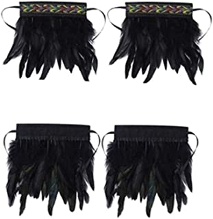 DIY Feather Wrist Cuffs Black Real Natural Dyed Rooster Feather Wrist Cuffs with Ribbon Ties for Game Party Halloween
