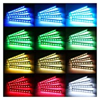4* PCSワイヤレスリモート/音楽/音声管理装飾雰囲気ランプ セルフメディアライト用 (Emitting Color : 12LED Voice control)