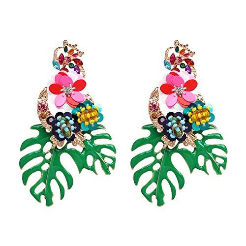 BLINGBRY bloemenblaadjes oorbellen voor vrouwen grote lange groene bladeren planten verklaring oorbellen sieraden geschenk
