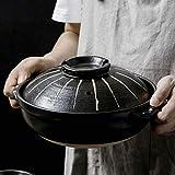 Cazuela Cocina Plato de cazuela con pinceles con pincel japonesa Donabe japonés Pote caliente, cazuela de cerámica resistente al calor con tapa, olla de estofado lento, plato de cazuela redonda ZSMFCD