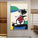 cuadros decoracion lienzowall art Extraño arte abstracto Joan Miro decoración de pared póster impresión lienzo pintura al óleo imagen para arte de dormitorio(55x75cm-Frameloos )