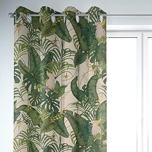 SCHÖNER LEBEN. Cortina con aspecto de lino Royal Cockatoo con hojas de palmera, cacato, natural, verde y amarillo, 245 cm o longitud deseada, para colgar: ojales