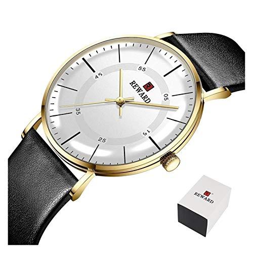 PULLEY - S Reward - Reloj de pulsera para hombre, ultra fino, informal, de cuarzo, resistente al agua, para negocios, reloj de cuero para hombre S (color: C5 (con caja)