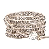 KELITCH Fashion Gray Crystal Beaded 5 Wrap Bracelet On Leather Strand Bracelets Jewelry