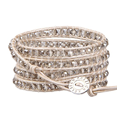 KELITCH Fashion Gray Crystal Beaded 5 Wrap Bracelet On Leather Strand Bracelets Jewelry