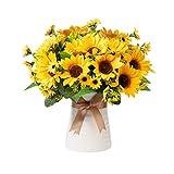 Artificial Flowers in Ceramics Vase, Silk Flower Arrangements, Faux Sunflowers Bouquets with Vase for Desktop Decoration (Ripple Ceramic Sunflower)