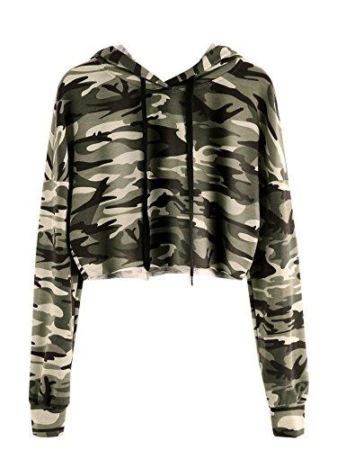 MakeMeChic Women's Long Sleeve Camo Print Sweatshirt Crop Top Hoodies Army Green XL