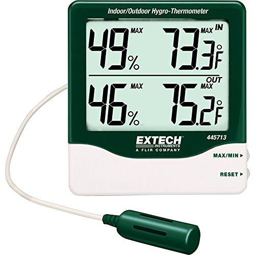Extech Hygro-Thermometer mit großer Ziffernanzeige für den Außen-/ und Innenbereich, 1 Stück, 445713