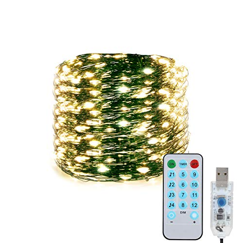 Fairy String Lights for Christmas Tree, 1 Pack 15m/49Ft 150LED 12Modes USB Plug LED Lights, Waterproof Indoor Outdoor Copper String Lights with Remote Timer for Bedroom, Yard, Xmas Party(Warm White)