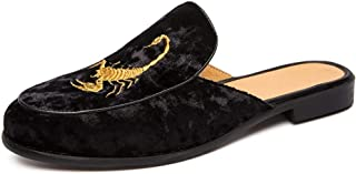 XUJW-Shoes, for Men Oxford Shoes Fashion Slippers Outdoor Leisure Fashion Casual Sandals OX Leather Suede Leather Half A Towed Shoes Pure Colors Embroidery Upper (Color : Black, Size : 7 UK)