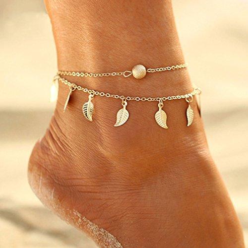 Handcess Bracelet de cheville bohémien à plusieurs rangs avec feuilles et pampilles - Bijou pour femme et fille (doré)