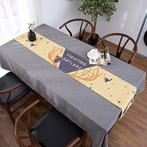 Nappe de Table Basse, Couverture de Meuble TV Anti-poussière, Drapeau de Table Longue, Nappe de Meuble de télévision, Lin en Coton Bei(; 30 * 220cm)