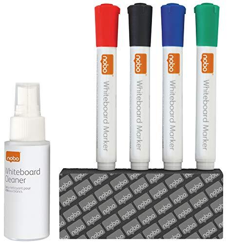 Rexel - Kit de escritura y limpieza para pizarras de borrado en seco (incluye 4 rotuladores y spray limpiador)
