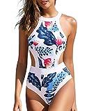 Holipick Women's Blue White Leaf High Neck Cutout One Piece Swimsuit Sports Bathing Suits M
