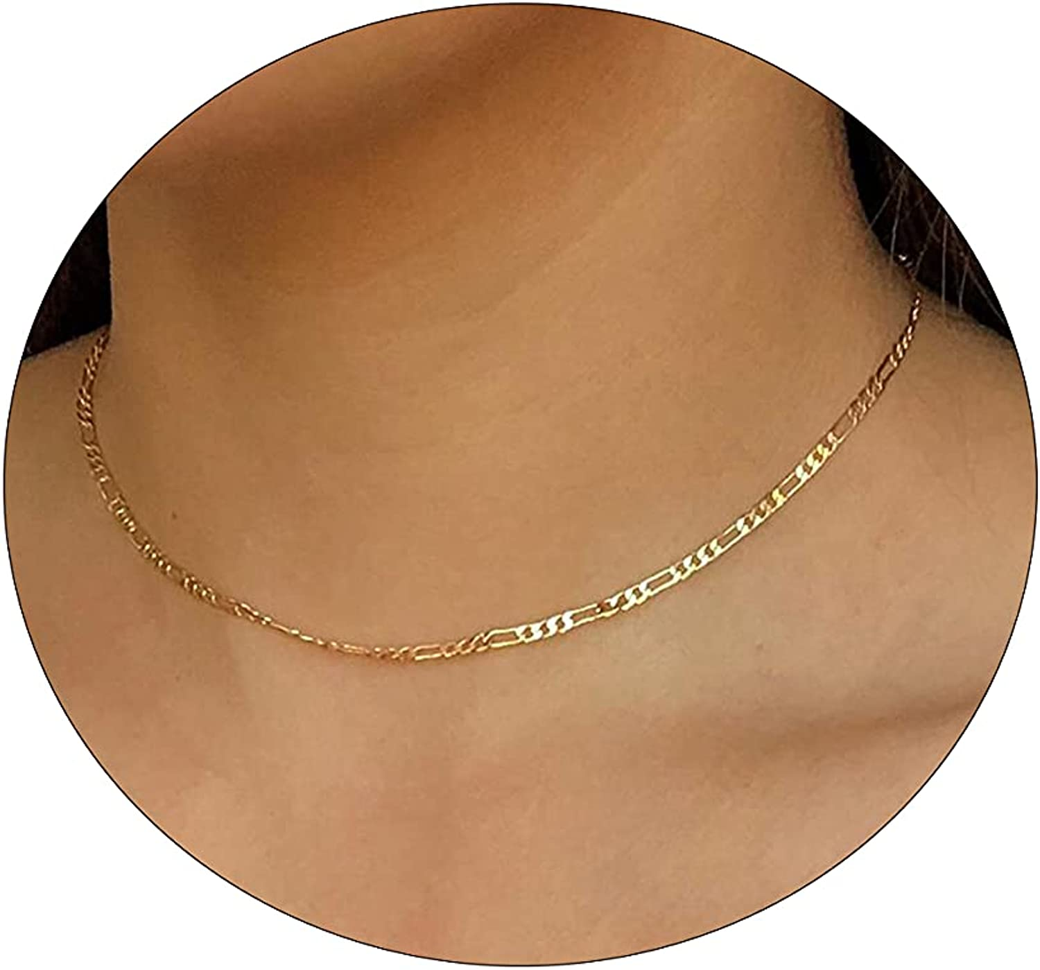 Carovo Dainty Gold Chain Choker Necklace for Women 18K Gold Plated Minimalist Figaro Beaded Lace Satellite Coin Chain Necklace Delicate Choker Jewelry Gifts for Women