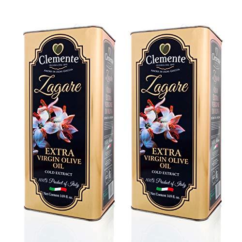Huile Clemente - Offre Spéciale - 2 Boîtes d'Huile d'Olive Extra Vierge, 100% Italienne, Le Zagare, 5 Litres