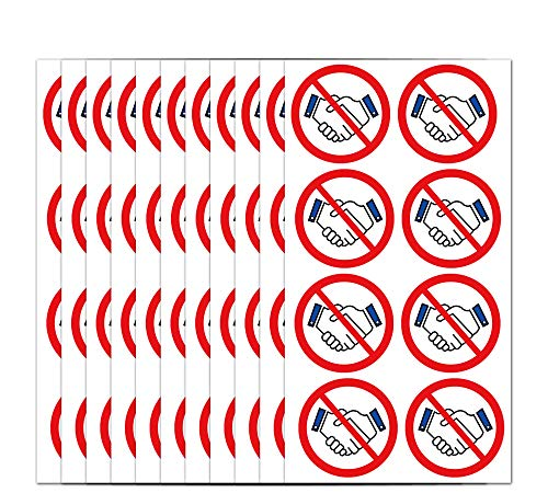No Handshakes Stickers 2 Inch - Circle Dot Hygienic Stickers 120 Labels Per Pack (shakehands, 2 inch)