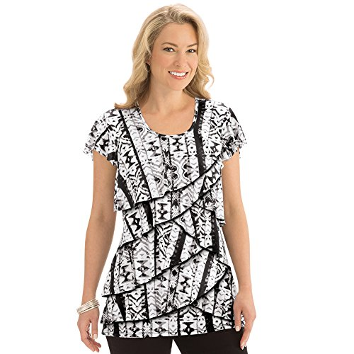 Women's Printed Tiered Ruffle Knit Top, Black Multi, X-Large - Made in The USA