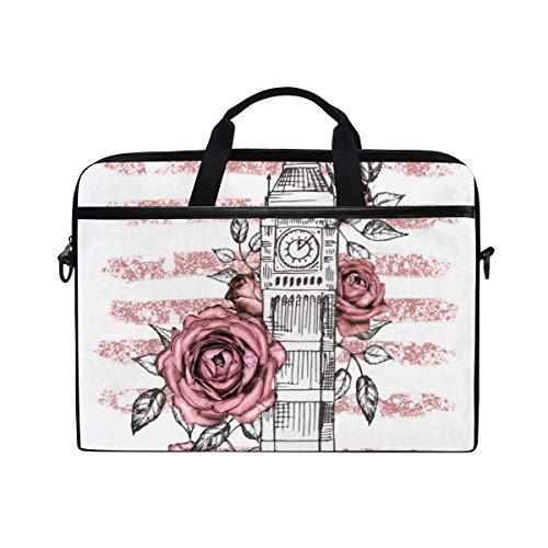 FOURFOOL 15-15.6 inch Laptop Bag,London Poster Design Pink Rose Graphic,New Canvas Print Pattern Briefcase Laptop Shoulder Messenger Handbag Case Sleeve