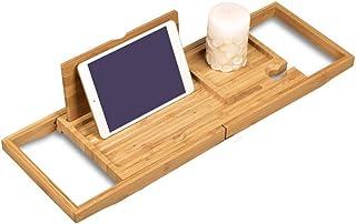 Aufworld Vassoio per Vasca in bamb/ù con Prenota Tablet Stand Portacandele in Vetro di Vino Detersivo per Piatti Mensola Allungabile 75cm-110cm