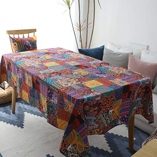 HTUO Wipe Clean Tablecloth Christmas Decoration Washable Table Cover Home Decoration Cotton Linen Retro Tablecloth Coffee Table Cover Modern Round Dining Table 100 * 140cm