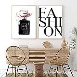 Póster de lienzo de perfume de moda pintura de arte de pared carteles nórdicos impresiones imagen de pared moderna decoración de sala de estar para niñas obra de arte moderna / 30x40cmx2 sin marco