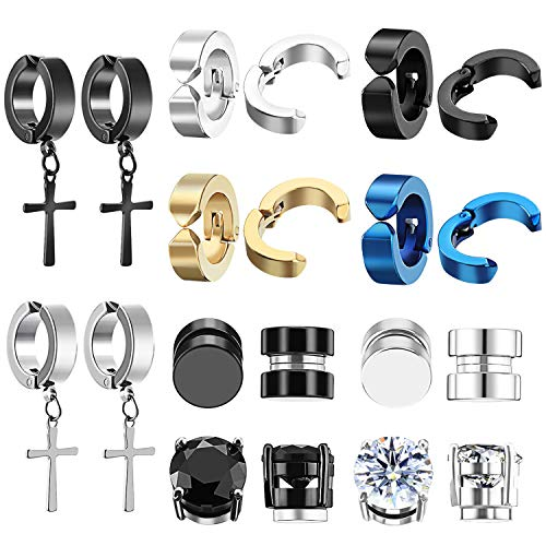 TUPARKA 10 Pairs Magnetic Earrings Unisex Stainless Steel Clip On Earrings Non Piercing Stud Earrings Cubic Zirconia Ear Cuff for Women Men