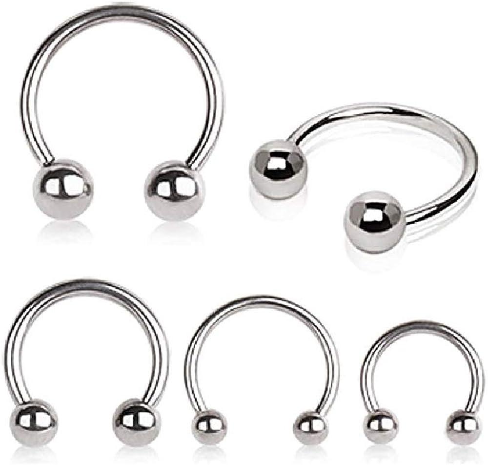 WildKlass Jewelry Grade 23 Titanium Horseshoe with Balls (Sold Individually)