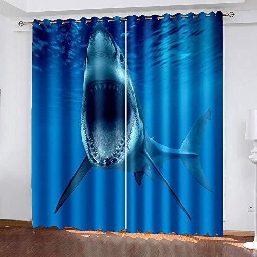 XGFWMS Cortinas Habitacion Dormitorio Cortinas Opacas Termicas Aislantes Frío Y Calor Reduccion Ruido Proteccion Intimidad para Hogar, 2 Paneles 240X230Cm 3D Tiburón Azul del Mar Patrón