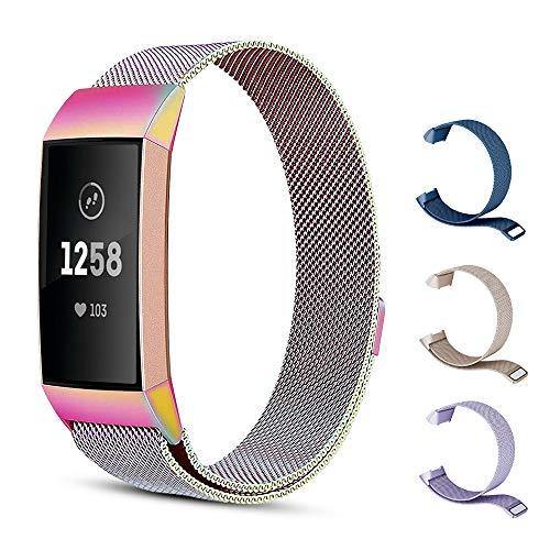 Sporgo Fitness Armband Kompatibel für Fitbit Charge 3,Milanese Loop Edelstahl Verstellbare Ersatz Armbänder mit Magnetverschluss für Fitbit Charge 3 Fitness Tracker Armbänder,Metall Ersatzarmbänder