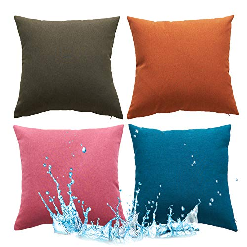 18X18 Cushion Covers Indoor Bench Car Seat Support Outdoor Waterproof Anti-Fouling Decorative Sofa Cover Square Throw Pillowcases for Office Chair Couch Garden, Gift Wrapped (45X45 CM) (4 PC Mixed)