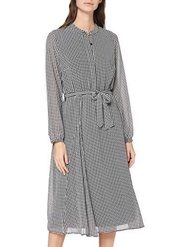 GERRY WEBER Damska sukienka z tkaniny Casual Dress, ecru/biały/czarny nadruk, 44