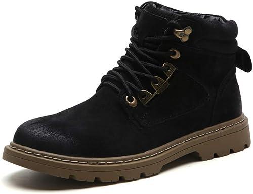 SHENNANJI Bottines de Travail pour Hommes Bottes Montantes Chaussures à Lacets à Tirer sur Le Style Chaussures en Daim à Bout Rond en Cuir antidérapantes Chaussures durables