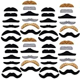 48PCS Novelty Fake Mustaches,Self Adhesive Mustache for Masquerade Party and Performance,Halloween(Black and Multicolor)