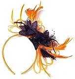 Tocado con plumas de red de color naranja y morado oscuro para bodas, carreras de Ascot real