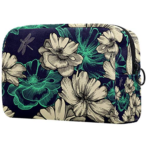 Bolso de cosméticos para mujer, bolsa de maquillaje, organizador de artículos de tocador, bolsa con cremallera de 19 x 7 x 12 cm, diseño de dragón asiático