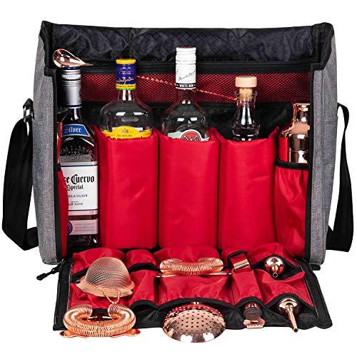 Bartender Travel Bar Bag-16 Inch Bar Wine Carrier Set Bag for Traveling Camping-Grey (Bag Only)